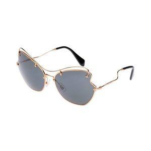 Miu Miu Prada Women Classic Black/Gold Sunglasses